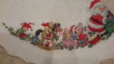 "Vintage 42"" Christmas Tree Skirt Felt Santa Kids Gifts Sleigh Bears Dolls"