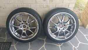 Holden commodore 18x8 chrome wheels & tyres x2 Coomera Gold Coast North Preview