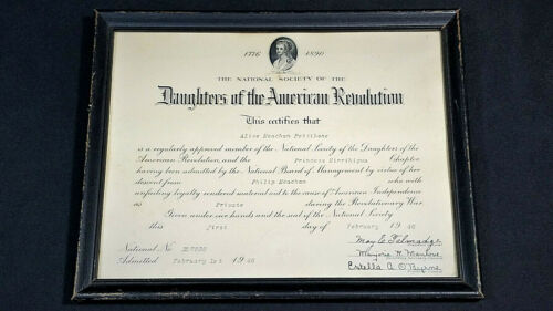 DAR Daughters Of The American Revolution 1946 Certificate Framed