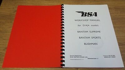 BSA D14/4 Bantam Supreme, Sports & Bushman Workshop Manual 1971 BW22 00-4152