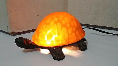 Tiffany Style Amber Tortoise Turtle Brass & Glass Accent Table Lamp Night Light  Tortoise Glass Table Lamp