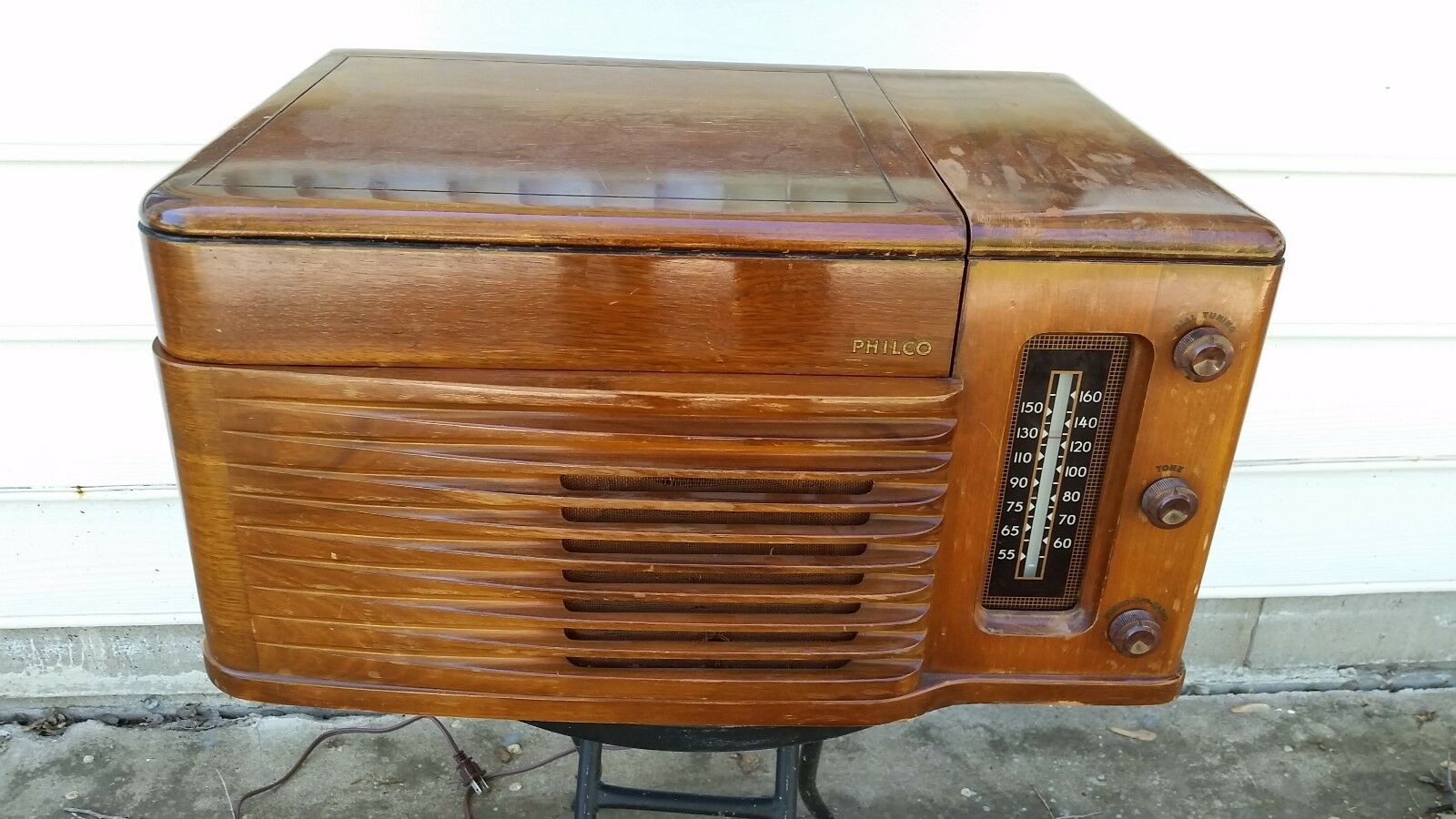 Vintage Philco Radio Record Player Wood Case, Model 46-1203