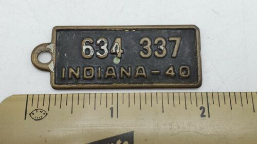 Vintage 1940 Indiana BF Goodrich Tires Advertising License Plate Tag Key Fob