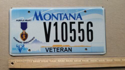 License Plate, Montana, Veteran, Purple Heart, Combat Wounded, V 10556