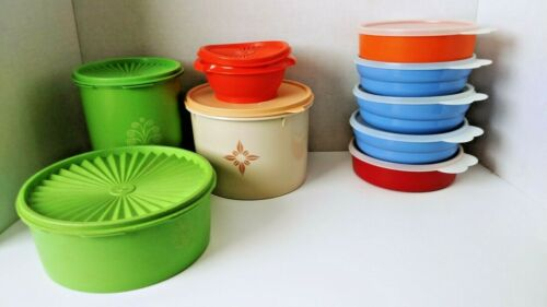 Lot of 9 Pieces Vintage Tupperware -Storage Containers