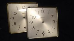 Vintage Simplex Glass / Metal 10 inch Square SLAVE Wall Clock - excellent