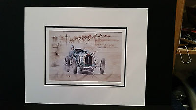 E Bugatti Type 51 at Brooklands by Bob Murray Open Edition Print Mounted