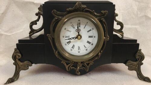 Black Marble Mantle Clock,French style,enamel dial,brass trim & feet