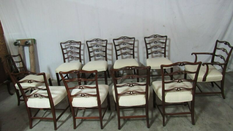 Set Ten Dining Room Chairs Mahogany Antique Ribbonbacks