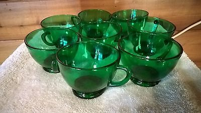 Vintage Anchor Hocking Forest Green Punch Cups Eight (8)  Anchor Hocking Green Glassware