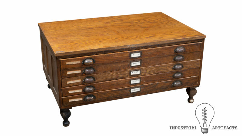 Antique Industrial Flat File Coffee Table