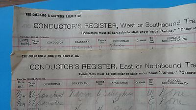 2 Colorado and Southern Railway Conductor's Registers, 1911-14, Dillon Station.