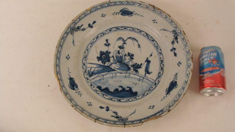 "Antique 18C Delft Blue & White Pottery Charger W/ Flowers 14"""