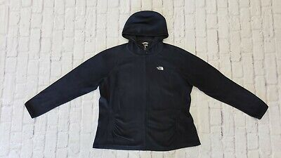 The North Face Black Full Zip Hooded Fleece XXL Plus Size Rare TNF Soft Hoodie