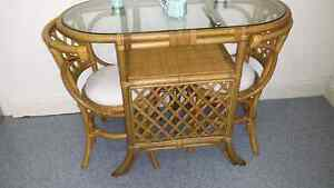 Vintage cane compact table 2 chairs Petersham Marrickville Area Preview