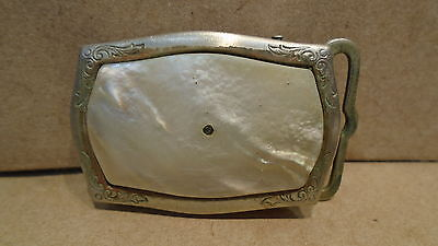 Vintage Belt Buckle Silver Front With Mother Pearl Nickle Silver Back