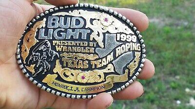 Bob Berg Texas Team Roping BUD LIGHT WRANGLER Sterling LA Champion Trophy Buckle