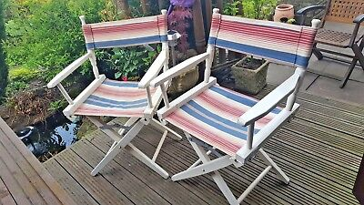 4 Retro Wooden Garden Chairs (Foldable,Canvas) (Collection - West Midlands)