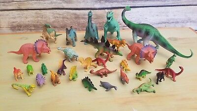 Mixed Lot of 30 Plastic Dinosaur Figures Animals Toys Assorted Small Large - Small Dinosaur