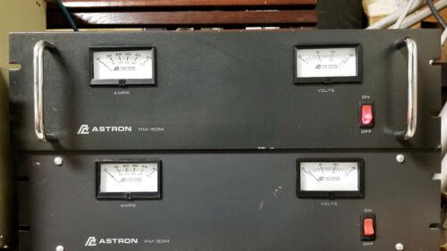 "Astron RM-50M 50 Amp 19"" Rack Mount DC Power Supply Dual Meter"