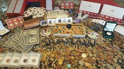 Treasure Trove Lot!! *GOLD*SILVER*BULLION BARS*GEMSTONES*RARE COINS ETC