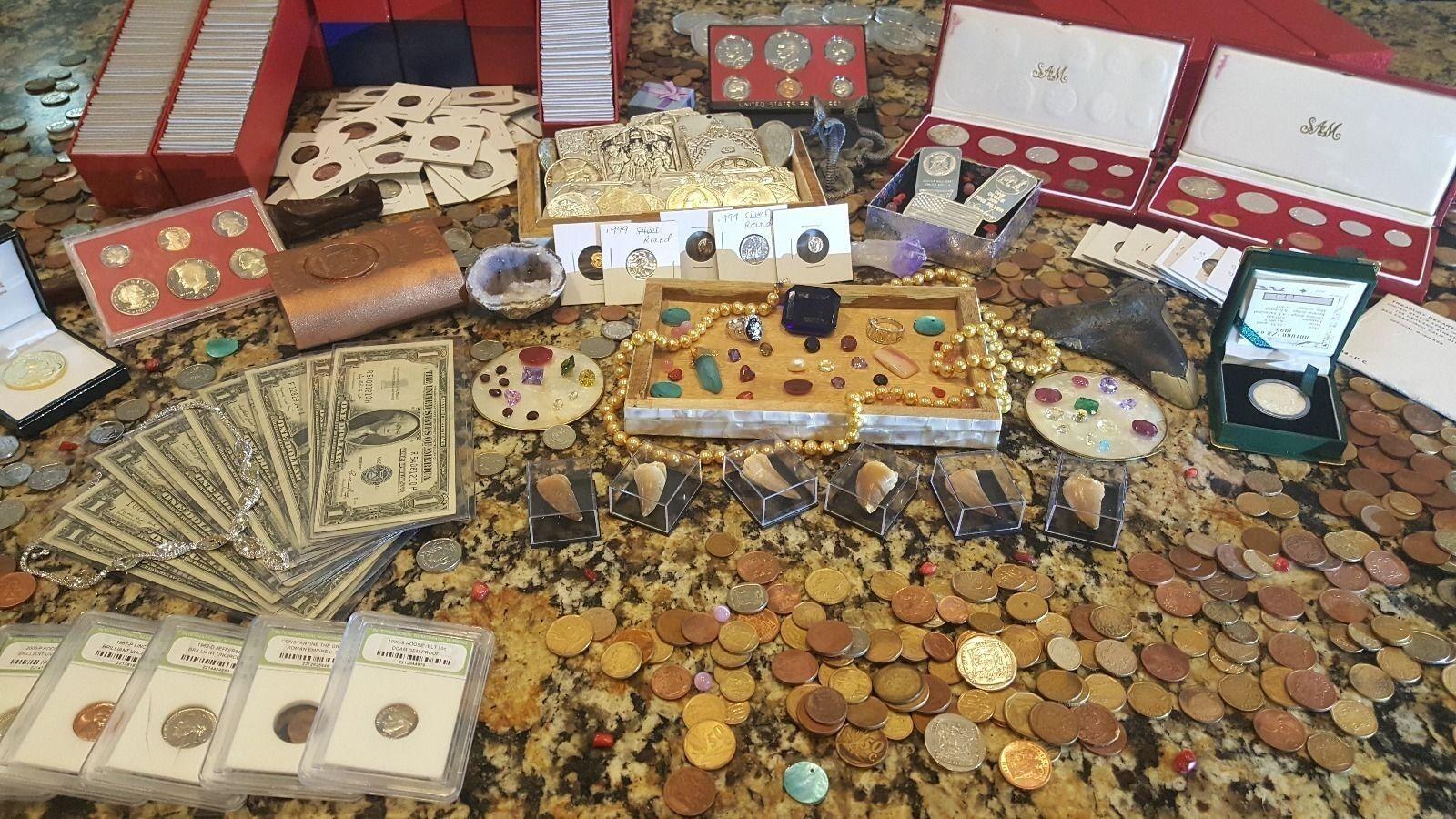 Treasure Trove Lot!! *GOLD*SILVER*BULLION BARS*GEMSTONES*RARE COINS ETC