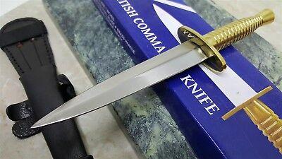 Brass Commando Knife Double Edge Hidden Tang Dagger w Brass Guard 4