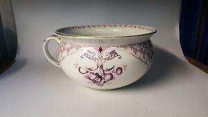 Purple transfer printed vintage Victorian antique potty chamber pot / planter