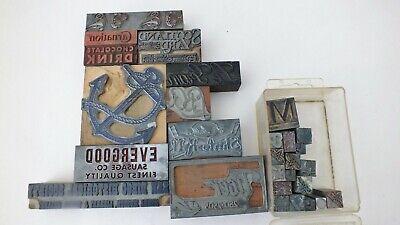 Lot Of 27 Letterpress Blocks Cut - Metal Type Printing Ornaments Dingbats Decor