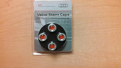 Tire Valve Stem Cap Valve Stem Caps   Red Audi Sport Logo AUDI OEM ZAW355000AS
