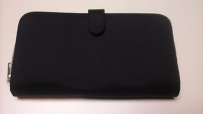 LADIES WALLET BLACK WITH TWO ZIPPERED SECTIONS AND A SNAPPED SECTION (Snapped Billfold)