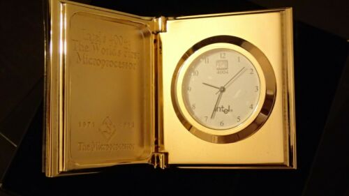 NOS NEW Intel 4004 Clock Vintage Gold Unique Collectible World