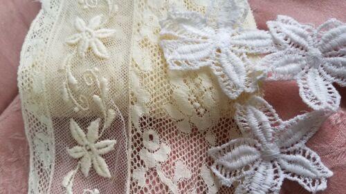 Antique Yellow Color Valenciennes Lace Embroidered Flowers Trim & Applique Lot