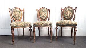 3 Antique carved Victorian walnut back bedroom / occasional / hall chairs