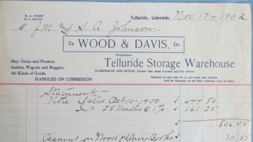 1902 Telluride Colorado Wood & Davis Telluride Storage Warehouse Billhead-Wagons