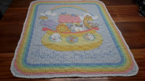 2007 Quilted Precious Moments Noah s Ark Chasing Rainbows Baby Blanket - $29.99