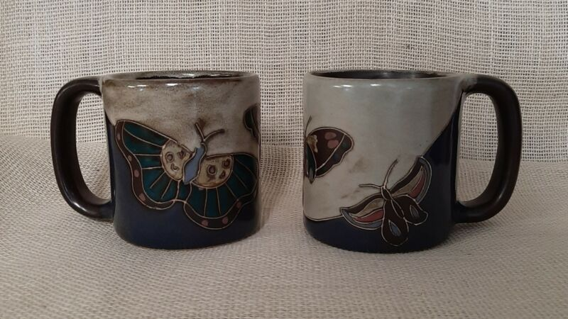 Large Coffee Mug Cup  Butterfly   Mara Mexican Pottery