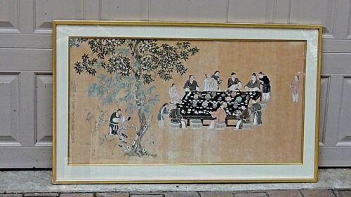 ANTIQUE CHINESE PAINTING ON RICE PAPER SHOWS A BANQUET TABLE SCENE,SIGNED