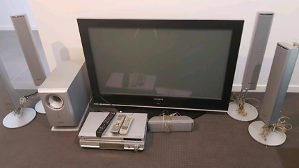 TV, surround sound system and DVD plater