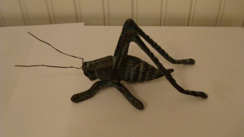 "Vintage Cast Iron/Metal Grasshopper/Cricket With Feelers 7"" long Figurine"