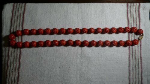 VTG Red Lacquerware Beaded Necklace