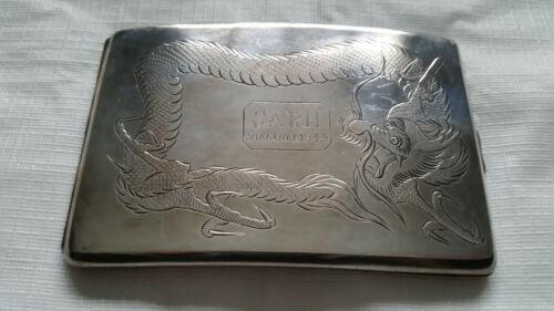 "Shanghai 1945 ""SARH"" Sterling Silver Vintage Cigarette Case with Dragon Design"