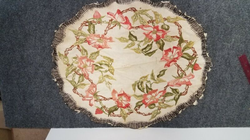 Antique Flowered table runner, Early 1900