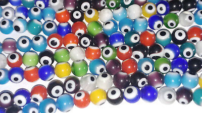 8MM Evil Eye Mixed Color Lampwork Glass Beads Round Spacer Loose Beads 48PC New