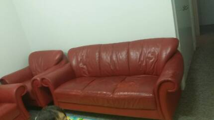 Red imitation leather 3×1×1 sofa Alfred Cove Melville Area Preview
