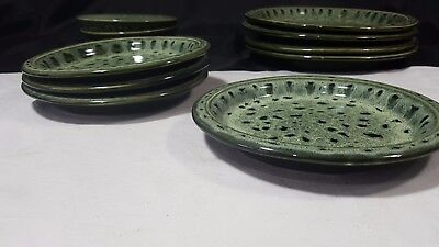 "Fosters Pottery Of Cornwall Green Honeycomb Glazed 7.25"" Side Plates"