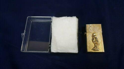 RARE Vintage Old Crow Bourbon Whiskey 14K Gold Plated Lighter Florentine VG