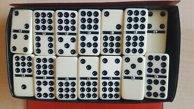 New Double Nine Dominos Domino with Spinners Ivory Tiles in Black Case Game
