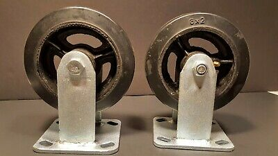 Set Of 2 Global Industrial 6 X 2 Rigid Mold-on-rubber Casters Wgrease Fitting