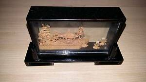 Oriental Asian Hand Carved Cork Scene Miniature Rong Pagoda Lane Cove North Lane Cove Area Preview